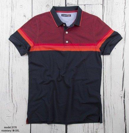 Koszulka męska polo Giovanni Ferrini 3170 - czarno-czerwona