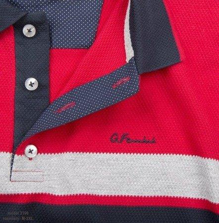 Koszulka męska polo Giovanni Ferrini 3190 czerwono-granatowa
