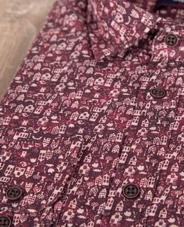 Męska koszula z nadrukiem i długim rękawem - wzorzysta
