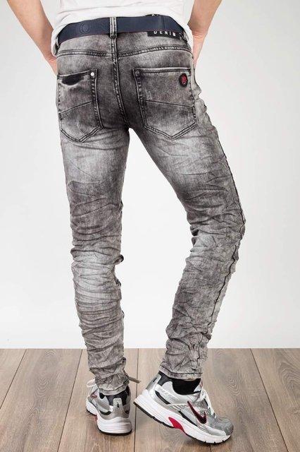 Męskie spodnie jeansowe 3913 z paskiem, slim fit, szare.