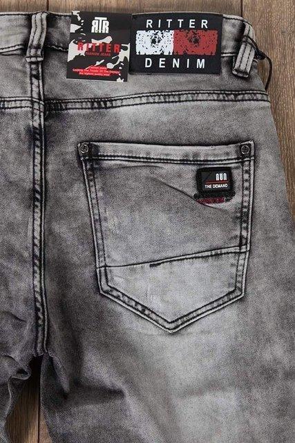 Męskie spodnie jeansowe 3916 z paskiem, klasyczne, szare, regular fit.