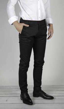 Męskie spodnie materiałowe 7600 czarne - duże rozmiary