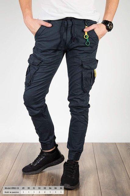 Męskie spodnie typu jogger, bawełniane bojówki - granatowe