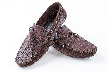 Mokasyny / buty skórzane plecione - brązowe