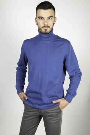 Sweter męski golf gładki niebieski