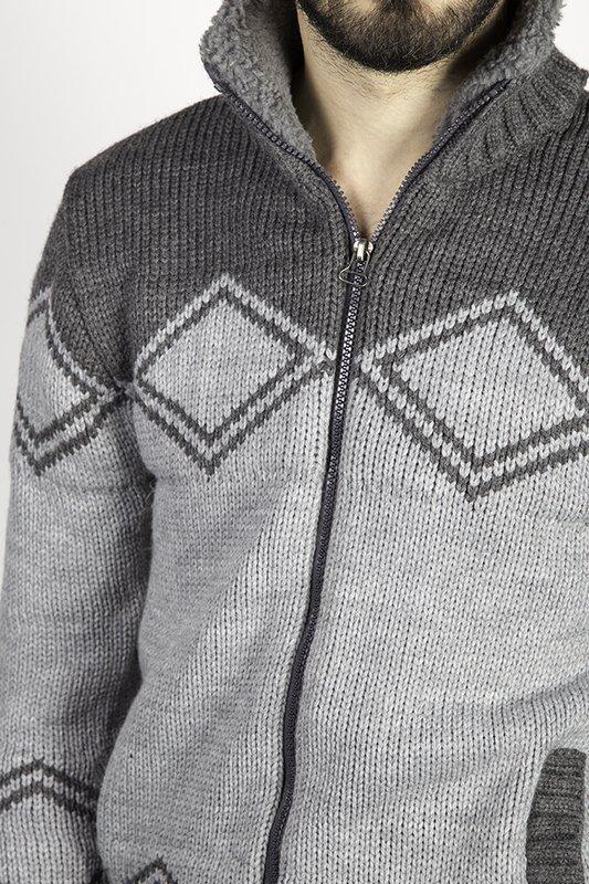 Sweter męski rozpinany, ocieplany,  J.J 4060 szary.