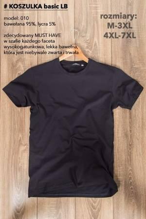 T-Shirt męski, gładki-czarny